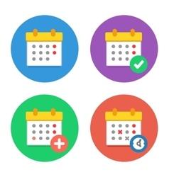 Calendar Icons Flat Set vector image