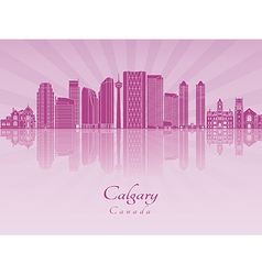 Calgary V2 skyline in purple radiant orchid vector