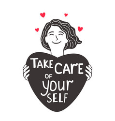 Care about self girl vector