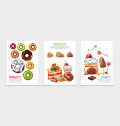 cartoon sweets posters vector image