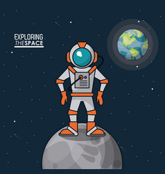 Colorful poster exploring the space with astronaut vector