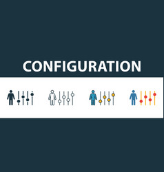 Configuration icon set four elements in diferent vector