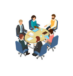 conversation at the round table in the office vector image