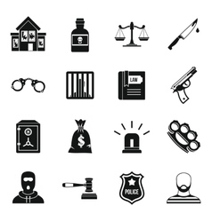 Crime and punishment icons set simple style vector image