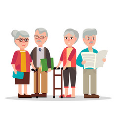 Cute elderly couples with books and newspaper vector