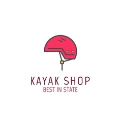 Cute minimal kayak shop icon logo label or line vector