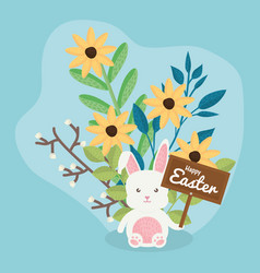 Cute rabbit with flowers and easter label vector