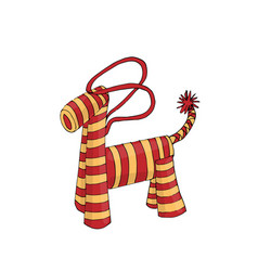 Cute woolen horse toy christmas present colored vector