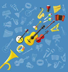 digital blue music instruments vector image