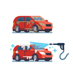 Dirty and clean car vector