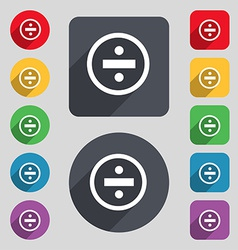 Dividing icon sign A set of 12 colored buttons and vector