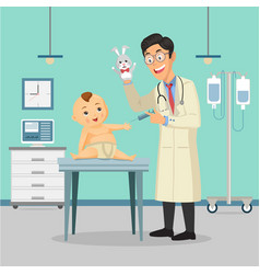 doctor pediatrician performs a vaccination of a vector image