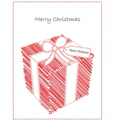 doodled Christmas gift vector image vector image