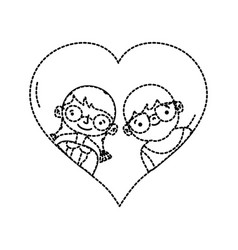 dotted shape boy and girl with glasses inside vector image