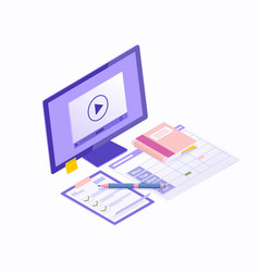 E-learning isometric concept with education vector