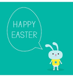 Easter bunny and dash line egg bubble Card vector image