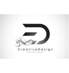 Ed letter logo design with black smoke vector