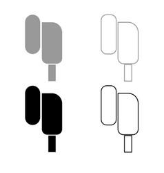 Eearphone plug icon outline set grey black color vector
