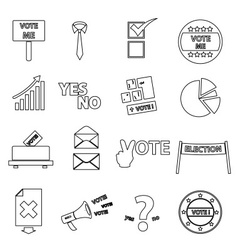 election black simple outline icons set eps10 vector image