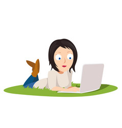 female freelancer working on computer laying on vector image