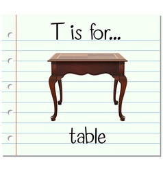 Flashcard letter T is for table vector