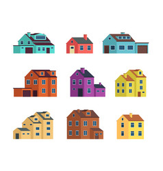Flat cartoon town houses cottage buildings vector