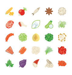 Food ingredients icon pack vector