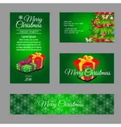 Four green cards with Christmas gift box and tree vector image