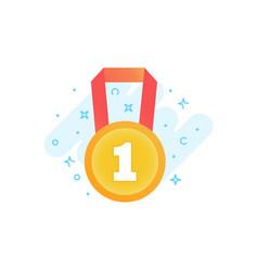 Gold winner medal award sign flat icon vector