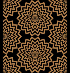 golden circular zigzag lines flowers with a vector image