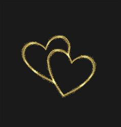 golden magic heart shape vector image