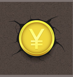 golden yen on cracked background vector image