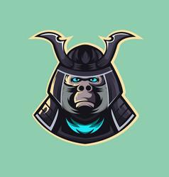gorilla samurai warrior mascot vector image