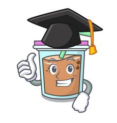 Graduation bubble tea character cartoon vector