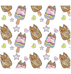 Grated kawaii cats ice lollies background vector