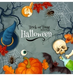 Halloween Trick or Treat Horror Night greeting vector