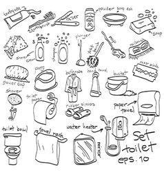 Hand drawn set of toilet objects vector