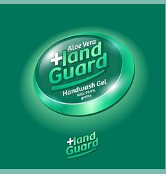 Hand guard logo label virus protection sanitizer vector