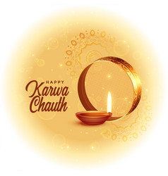 Happy karwa chauth festival card with diya design vector