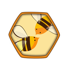 honey comb icon with bees carving style vector image