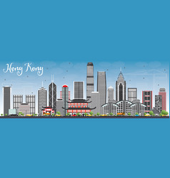 Hong kong skyline with gray buildings and blue sky vector