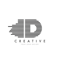 id i d zebra letter logo design with black and vector image