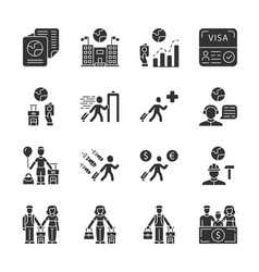 Immigration glyph icons set travel abroad trip vector