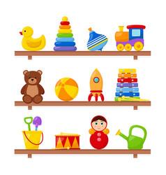 kid toys on wooden shelves vector image