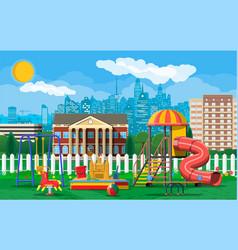 Kids playground kindergarten panorama vector