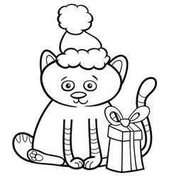 kitten on christmas coloring book vector image
