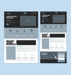 landing wireframe internet web page ui template vector image