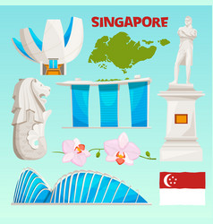 Landmarks icons set of singapore cartoon cultural vector