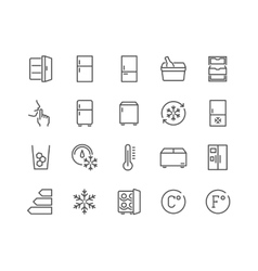 Line Fridge Icons vector