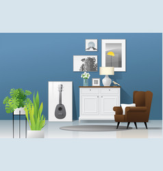 Living room background in modern rustic style vector
